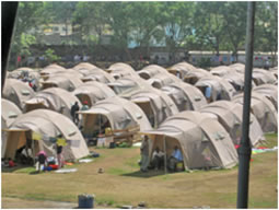 Tents set up after a disaster