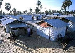 Transitional shelters built long after the initial disaster